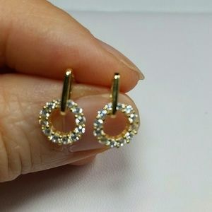 Yellow Gold Plated simulated diamond earrings